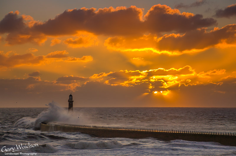 Sunburst, Roker-Light 22nd January. Landscape photography by Gary Waidson.